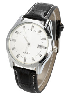 Men's Black Strap Synthetic Leather Strap Watch (Black)