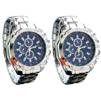 Men's Blue Steel-belt Strap Watch C-XY-3999 Set of 2