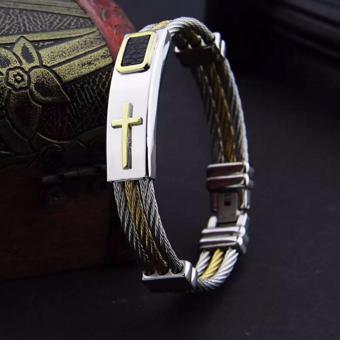Men's Bracelet 3Rows Wire Chain Bracelets Bangles Fashion PunkStainless Steel Cross Bracelet Men Christian Men Jewelry - 2