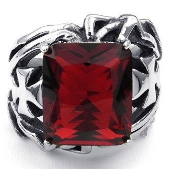 Mens Crystal Stainless Steel Ring Gothic Cross Red Silver- INTL - picture 2