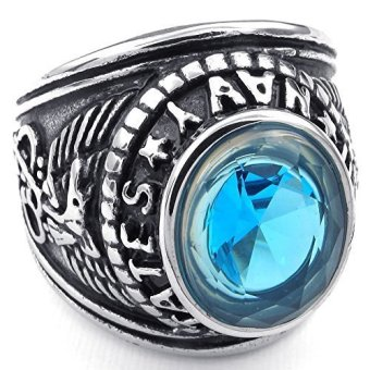 Mens Cubic Zirconia Stainless Steel Ring United States Navy Military Blue Silver- INTL - picture 2