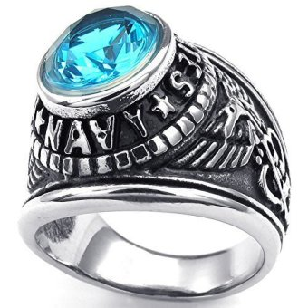 Mens Cubic Zirconia Stainless Steel Ring United States Navy Military Blue Silver- INTL