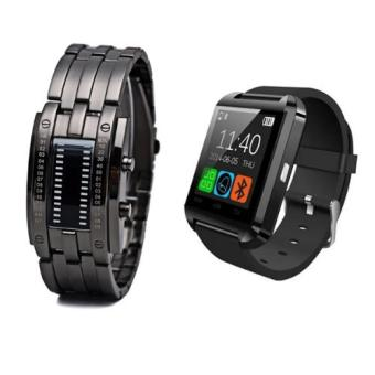Men's Date Digital Sport Waterproof tungsten steel Binary LEDluminous zinc alloy Watch (Black) With U8 Sport BluetoothTouchscreen Smart Watch