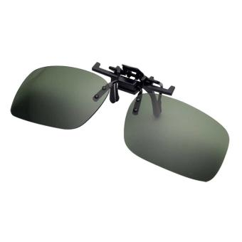 Men's Day Night Vision Clip-on Flip-up Lens Sunglass PracticalDriving Glasses Green(Size: S) - intl