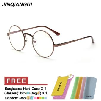 Men's Eyewear Fashion Vintage Retro Round Glasses Brown FrameGlasses Plain for Myopia Men Eyeglasses Optical Frame GlassesOculos Femininos Gafas - Intl Price Philippines