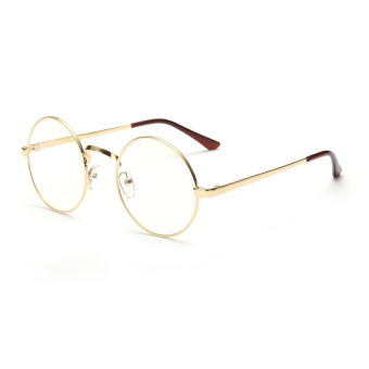 Men's Eyewear Fashion Vintage Retro Round Glasses Gold FrameGlasses Plain for Myopia Men Eyeglasses Optical Frame GlassesOculos Femininos Gafas - Intl