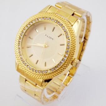 Mens Gold Watches Diamond Dial Gold Steel Analog Quartz Wrist Watch Gold - intl