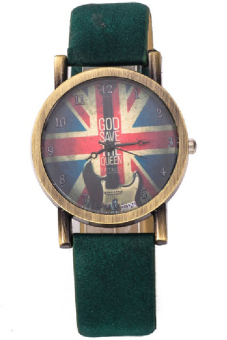 Men's Green Leather Strap Watch