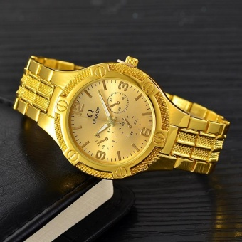 Men's OMEGA Three Eyes Steel Strap Fashion Business QuartzWatch(Gold) - intl Price Philippines