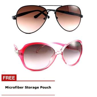 Men's Pilot Brown Sunglasses Plus Women's Glass Pink OversizedSunglasses Price Philippines