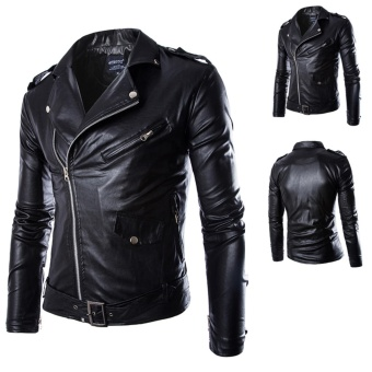 Men's PU Leather Jacket Black Blazer Zippers Long Sleeve MotorcycleCoat - intl