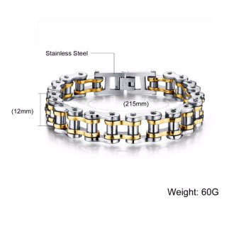 Men's Punk Cool Stainless Steel Bracelets Motorcycle Bicycle ChainBracelets Bangles(Black+Silver) - intl - 5