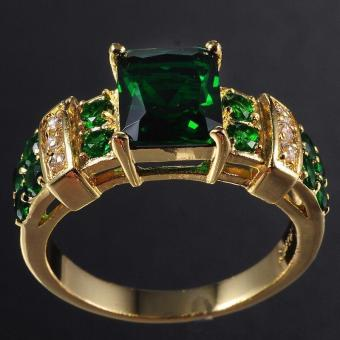 Men's Ring Emerald Zircon Crystal Jewelry Ring US Size - intl