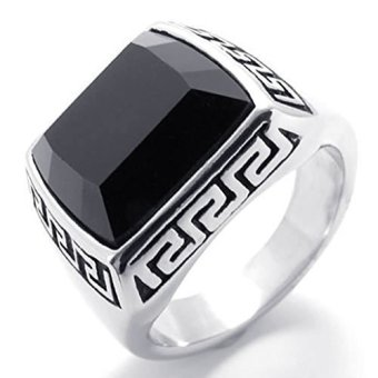 Mens Rings Stainless Steel Band Black Silver (Intl)