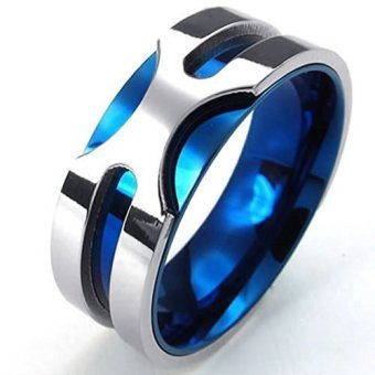 Mens Rings Stainless Steel Classic Bands Blue Silvery 8 (Intl)