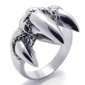 Mens Rings Stainless Steel Gothic Claw Dragon Biker Silver (Intl)