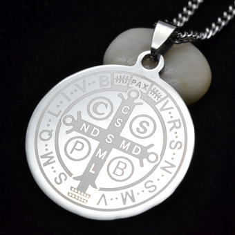 Men's SIlver Tone Stainless Steel Patron Saint St.Benedict HolyMedal Pendant Necklace SS Curb Chain 60CM - Intl - 3