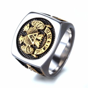Mens Stainless Steel Domineering Vintage Freemason Masonic Rings -intl