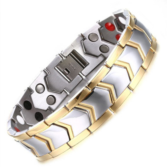 Mens Titanium Healthy Magnetic Therapy Bracelet Two Tone Gold Edge with Direction Design - intl Price Philippines