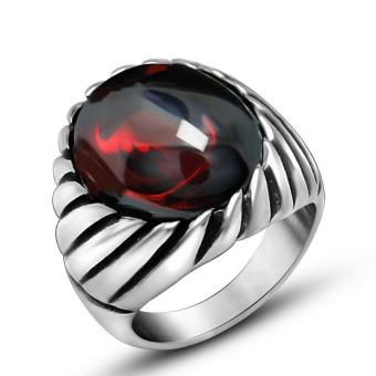 Men's Vintage Titanium Steel Agate Rings Jewelry Red Price Philippines