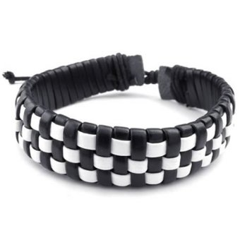 Mens Womens Leather Bracelet Surfer Braided Bangle Fit 7-9 inch (White/Black) (Intl) - picture 2