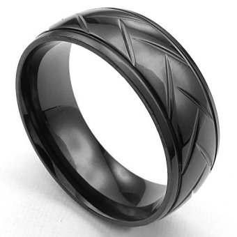 Mens Womens Stainless Steel Ring Classic Black- INTL