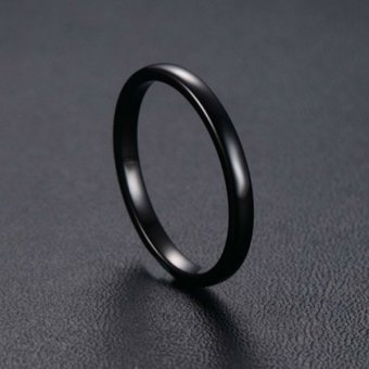 Mens Womens Tungsten Steel Ring 2mm Comfort Fit Band Black - 5