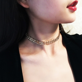 Metal choker female neck band necklace
