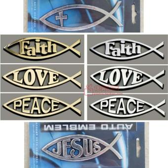 Metal Christian fish-shaped electroplated car stickers