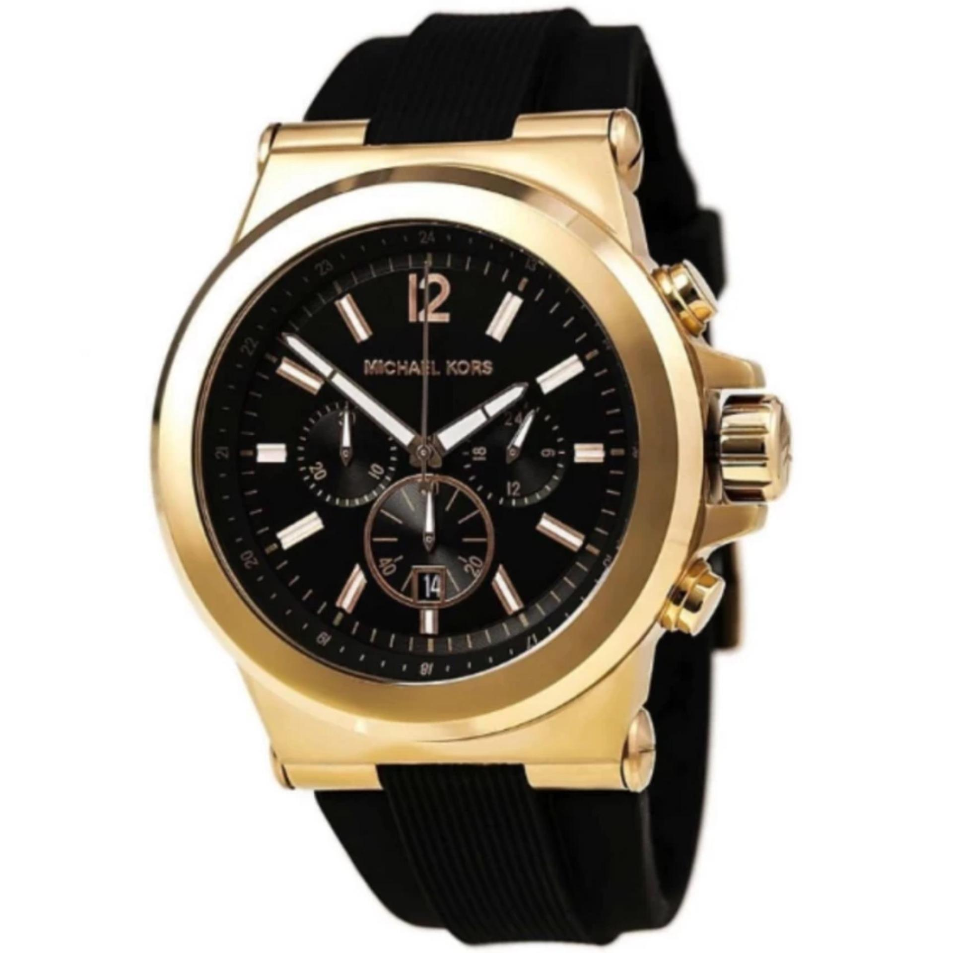 aa8230c8092 ... Michael Kors Dylan Chronograph Black Dial Black Silicone Men s Large  Size Watch-MK8445 ...