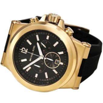 Michael Kors Dylan Chronograph Rubber Black Rubber Gold Case Men's Oversized Watch-MK8325 - 2