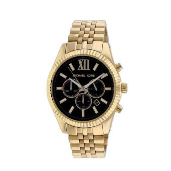 Michael Kors Lexington Chronograph Gold Black Dial Men Oversize Watch-MK8286