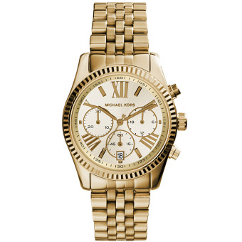 Michael Kors Lexington Gold Stainless Steel Strap Watch MK5556