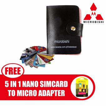 Microbishi Wallet Holder Pocket Business ID Credit Card CaseColorful Purse Coin bag Pouch (Black) with free Nano SIM AdapterNano to Micro SIM Micro SIM to Standard SIM Card Adapter 5 IN 1Tools Kit