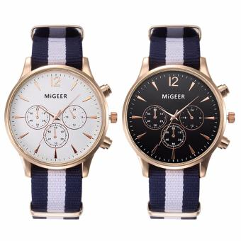 Migeer Nylon Strap (BLACK DIAL BLACK AND WHITE STRAP)ExcellentQuality 2016 Outdoor Mens Watch Stainless Steel Military SportsAnalog Quartz Army Man Watch Montre Homme Relojes