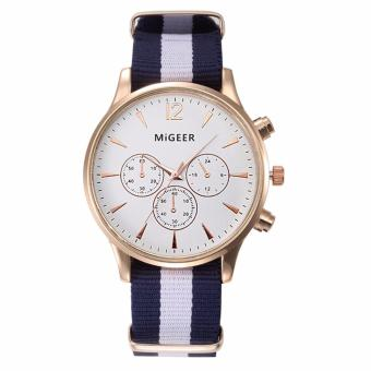 Migeer Nylon Strap (WHITE DIAL BLACK AND WHITE STRAP)ExcellentQuality 2016 Outdoor Mens Watch Stainless Steel Military SportsAnalog Quartz Army Man Watch Montre Homme Relojes - 2
