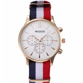 Migeer Nylon Strap (WHITE DIAL RED AND WHITE STRAP)Excellent Quality 2016 Outdoor Mens Watch Stainless Steel Military Sports Analog Quartz Army Man Watch Montre Homme Relojes