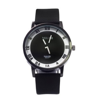 Miler 1020 Roman Style Leather Watch (Black) #127