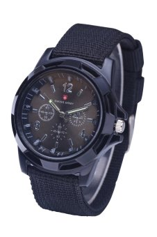 Military Quartz Swiss Army Watch Canvas Strap Fabric Analog Clock Black Belt Surface