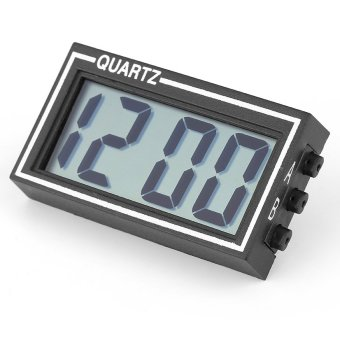 Mini Black LCD Digital Screen Large Display Auto Car Use Time DateCalendar Clock