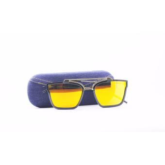 Mirror Lens Fashion Sunglasses with Case- Yellow Price Philippines