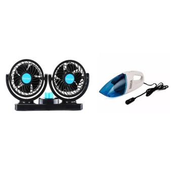 Mitchell HX-T303 Double Headed Vehicle Fan With Portable Car VacuumCleaner (Blue/Pink)
