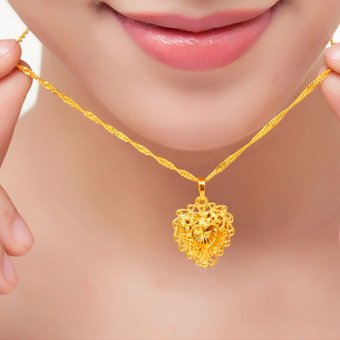 MoNo 24K Gold Plated Fine Hollow Heart Pendant Necklace (Gold) - 4
