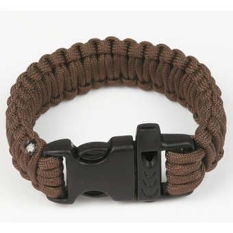 Moonar Parachute Cord Bracelets Whistle Buckle Survival Tool Bracelet (Brown)