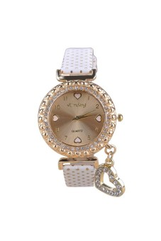 Moonar Rhinestones Heart Women's White Leather Strap Watch - picture 2