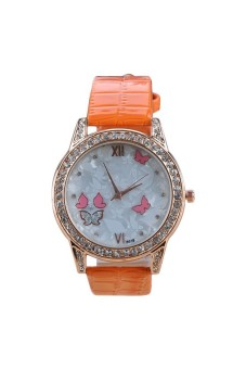 Moonar Rhinestones Quartz Wrist Watch (Orange)
