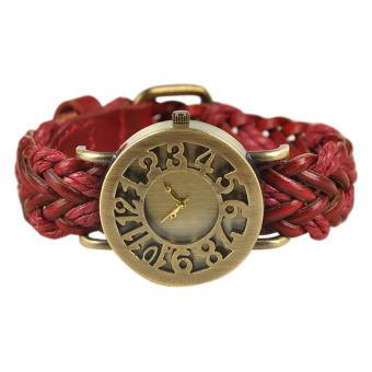 Moonar Woven Vintage Hollowed Quartz Wrist Watch (Red)