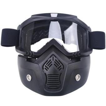 Motocross Motorbike Motor Open Face Detachable Goggle HelmetsVintage Glasses (Black) - 3