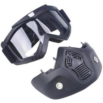 Motocross Motorbike Motor Open Face Detachable Goggle HelmetsVintage Glasses (Black) - 5