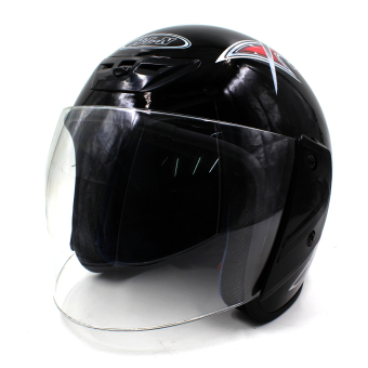 Motor Craze 518 Printed Rounded Open Face Motorcycle Helmet (Black)